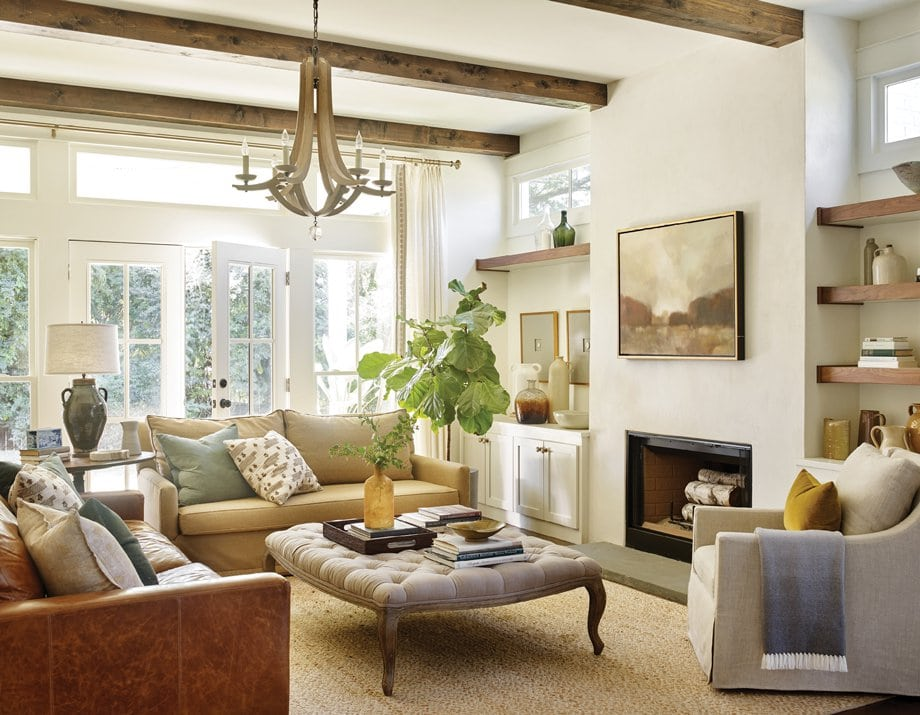 Farmhouse Living Room with Wood, Leather and Neutrals via Anna Braund Interiors and Atlanta Magazine