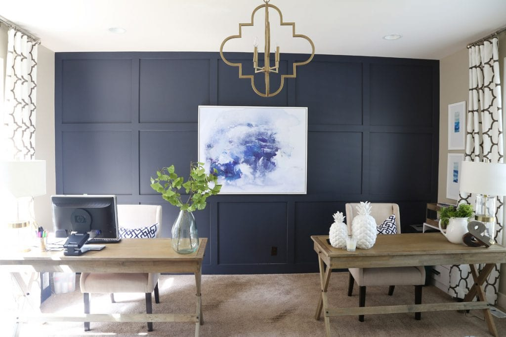home-office-with-hale-navy-walls-and-gold-and-green-accents-via-life-on-virginia-street