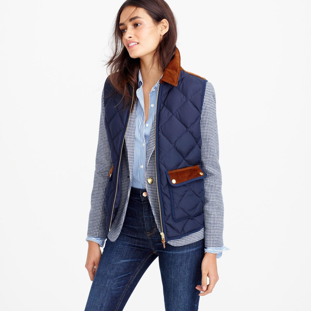 Quilted excursion vest with corduroy