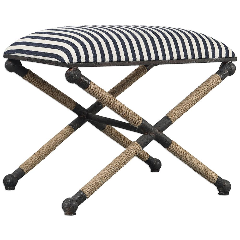 Black & White Striped Coastal Bench
