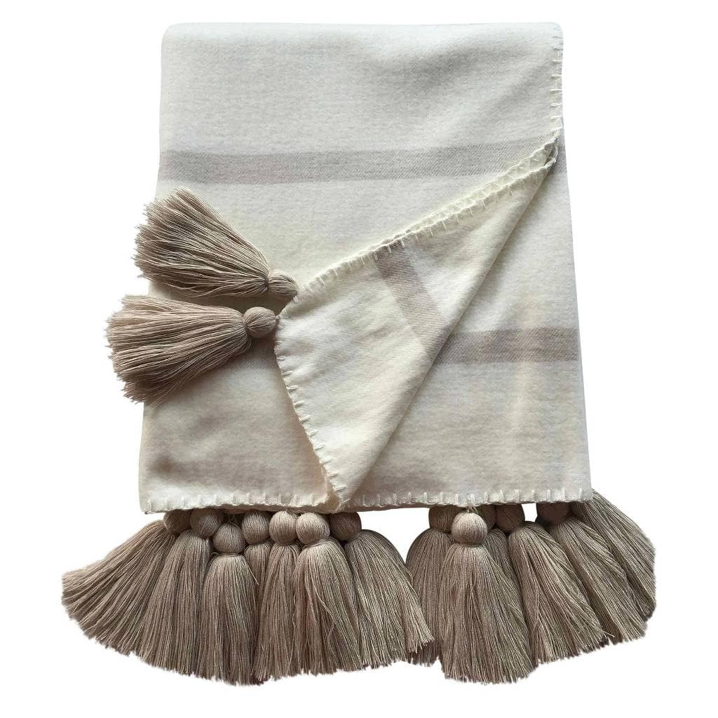 Striped Tassel Throw