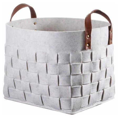 Woven Felt Basket with Leather Handles