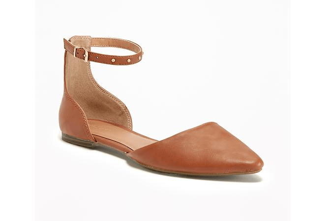 Ankle-Strap Cognac Leather Flats