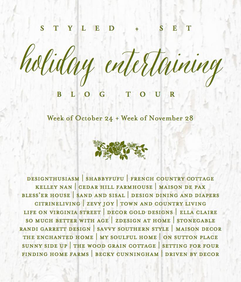 Holiday entertaining blog tour poster.