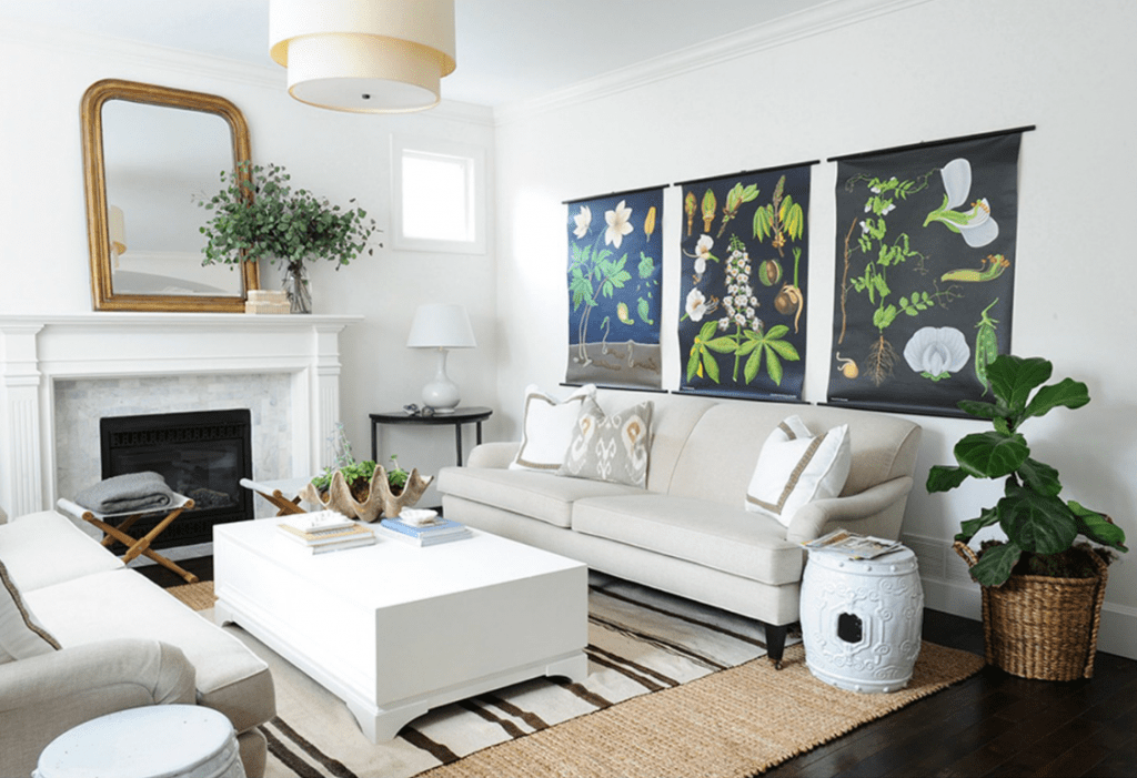 Living Room with Botanical Art via Rue Magazine