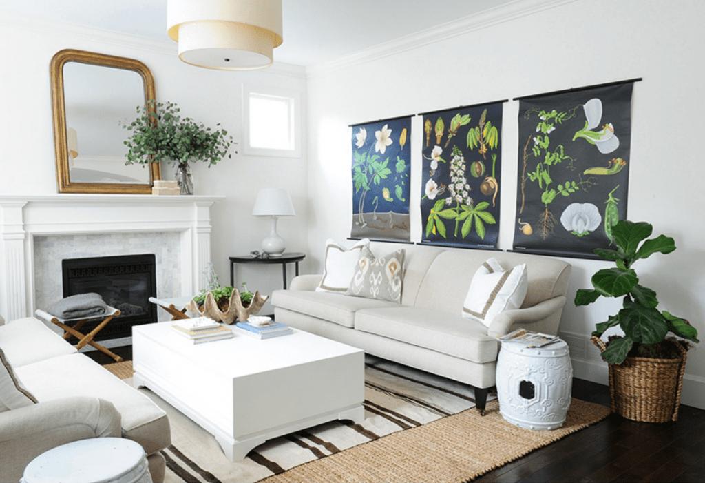 Living Room with Botanical Art via Rue Magazine