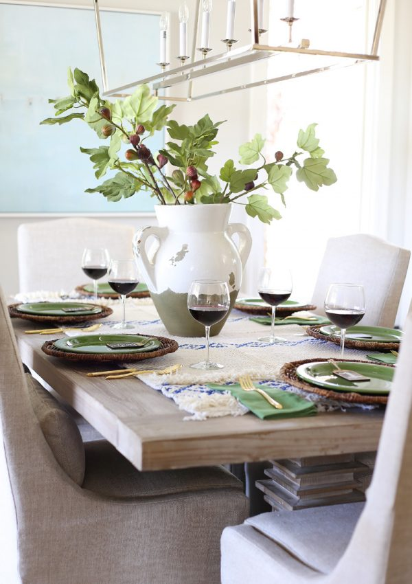 Blue and Green Thanksgiving Tablescape & A Dining Room Sneak Peek