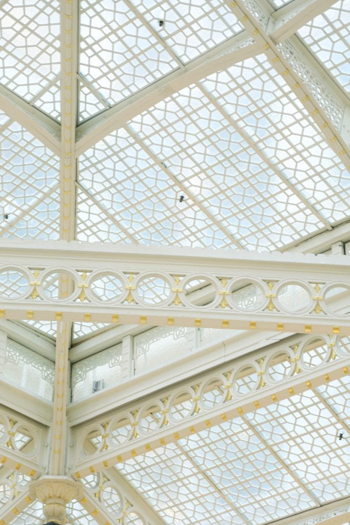 The-Rookery-ceiling-details-Chicago with a suspended staircase.