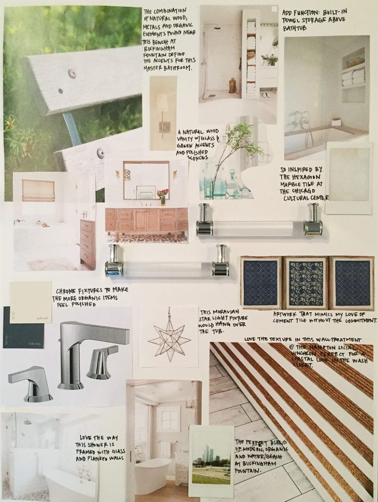 A bathroom design board with Chicago inspiration.