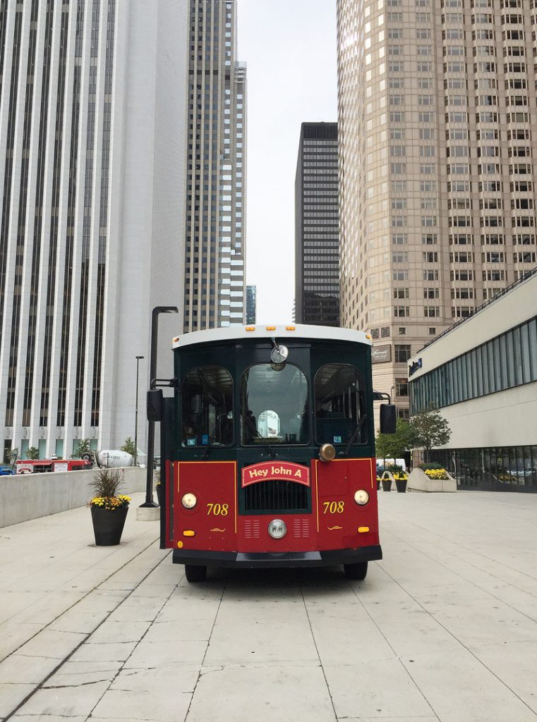 A red trolley car in Chicago.