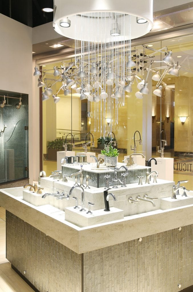 The delta showroom in Chicago with the faucets on display.