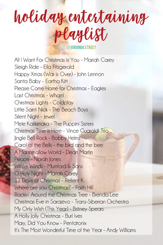Holiday Entertaining Playlist poster.