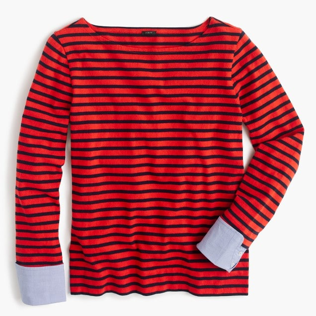 Red and Navy Striped Shirt with Cuffs