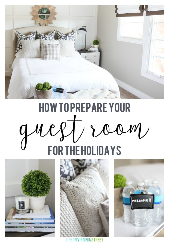 Guest bedroom with neutral bedding and green accents. Great tips on how to prepare your guest bedroom and bathroom for the holidays!