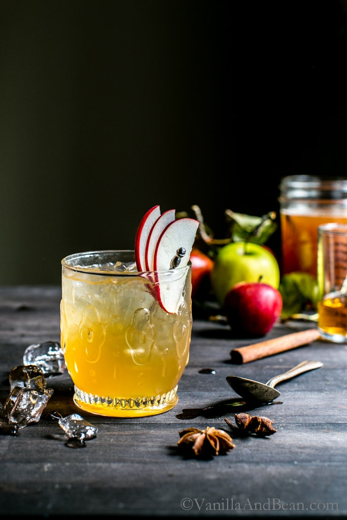 Bourbon Apple Cider Shrub Cocktail