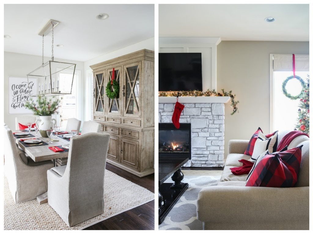 Neutral, red and plaid Christmas dining room and living room tours.