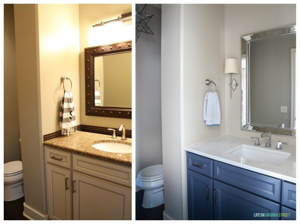 Our powder bathroom before and after picture! Love how the room naturally lightened and lifted the space to a new level. These nautical vibes are great!