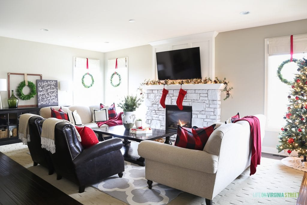 Christmas Home Tour Part I: Red and black buffalo check Christmas living room.