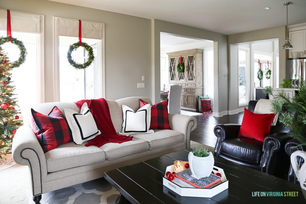 Red and black buffalo check Christmas living room.