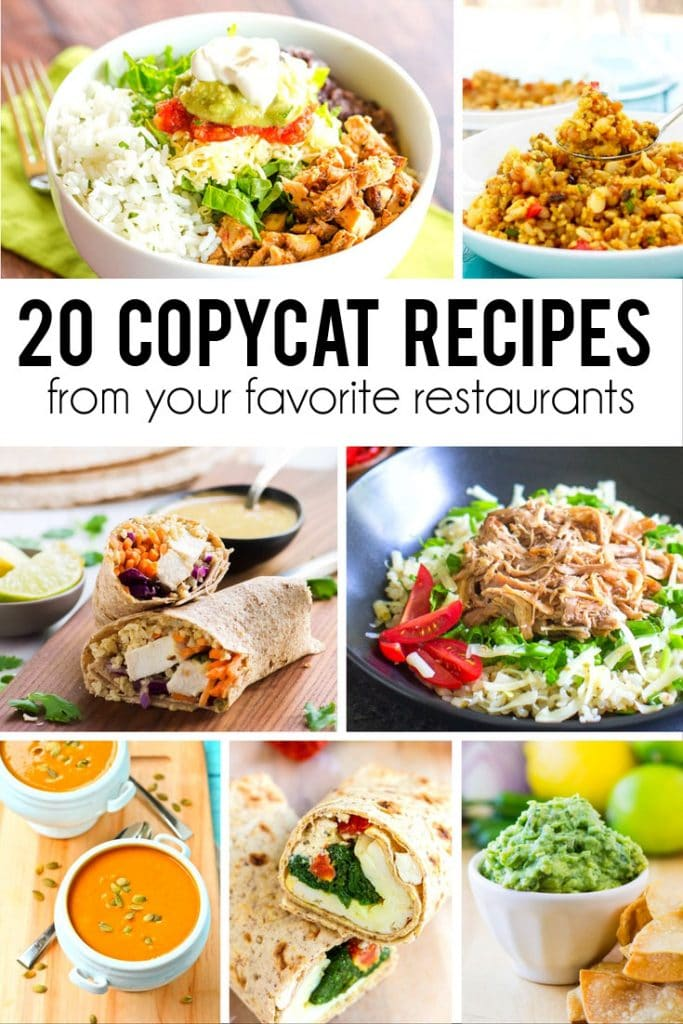 20 copycat recipes from your favorite restaurants! Enjoy your favorite meals without the cost of eating out!