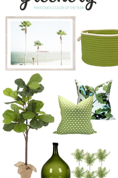 Decorating with Greenery, Pantone's color of the year. Inspiration images and items that will look great in every home.
