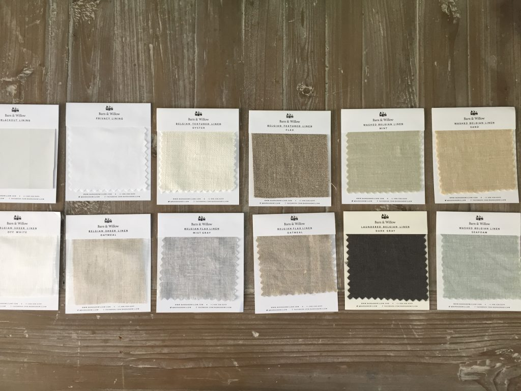 Free fabric swatches from barn & Willow helped make my decision so much easier when it came to picking shade colors.