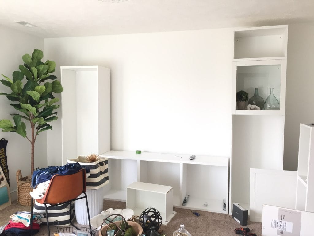 The craft room is a mess right now, but I'm loving the new Benjamin Moore simply white I painted on the walls. And the IKEA Besta is going to be perfect in this room.