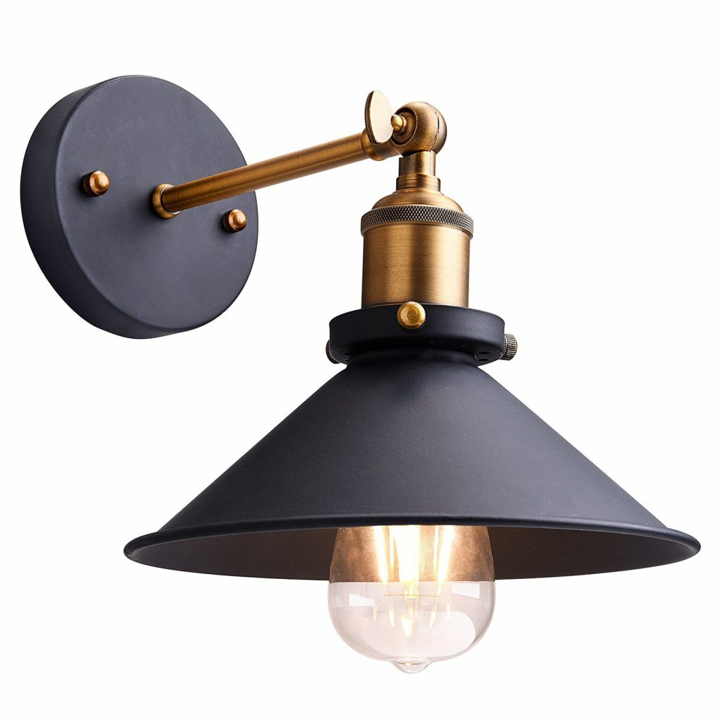 Black and gold industrial metal sconce at a killer pricepoint!