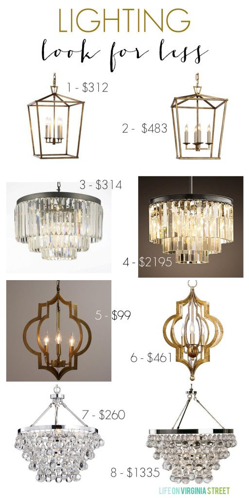 Lighting look for less options! So many great knock-offs and I love the example photos included of the lights in real spaces!