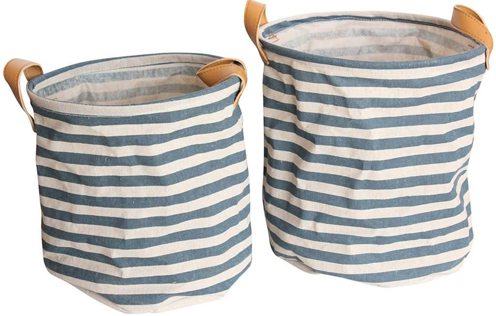 Blue and Ivory Striped Baskets with Leather Handles