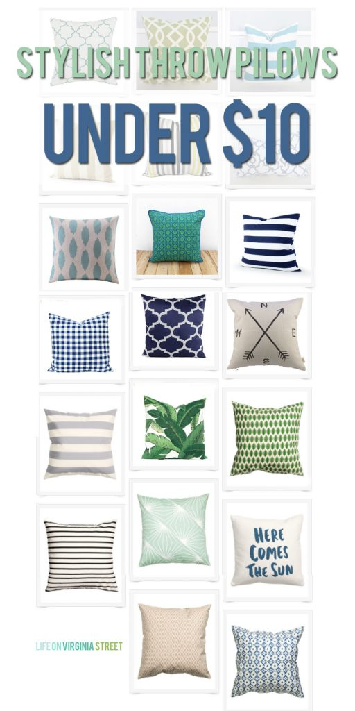 Stylish throw pillows under $10.