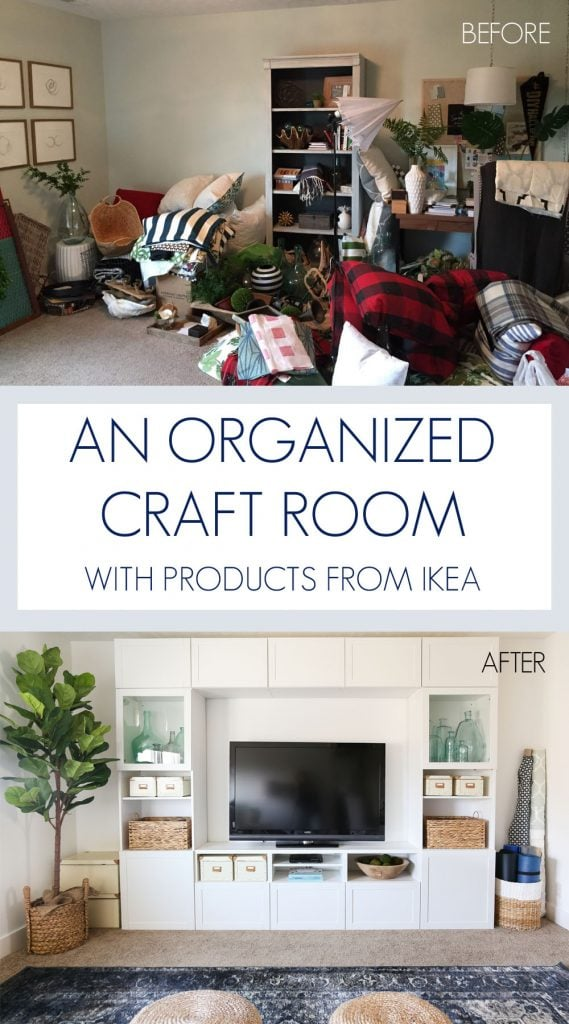 A stunning before and after! Love this craft room / TV room painted in Benjamin Moore Simply White. The IKEA BESTA stores fabric and other crafts, and the navy blue rug, fig tree and sisal poufs add color and texture. Also love that scalloped flushmount light fixture! Great organization tips included.