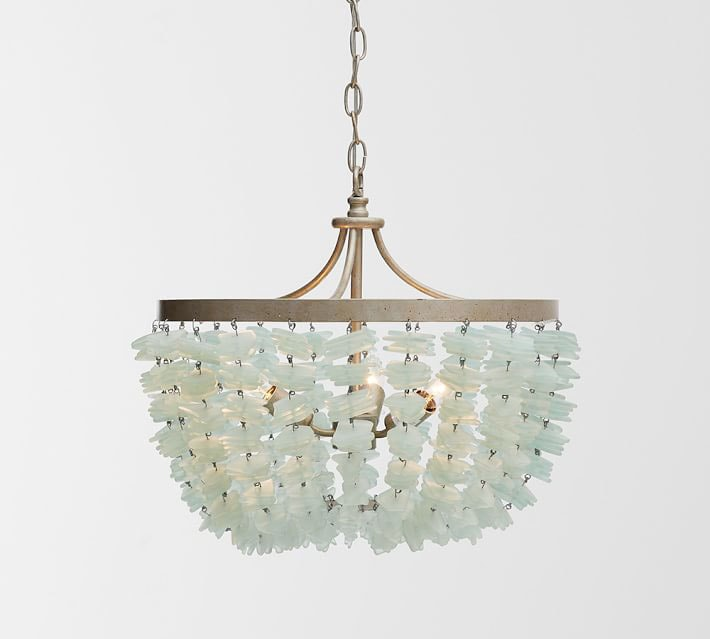 You know my love of lighting, and this sea glass chandelier is no exception.