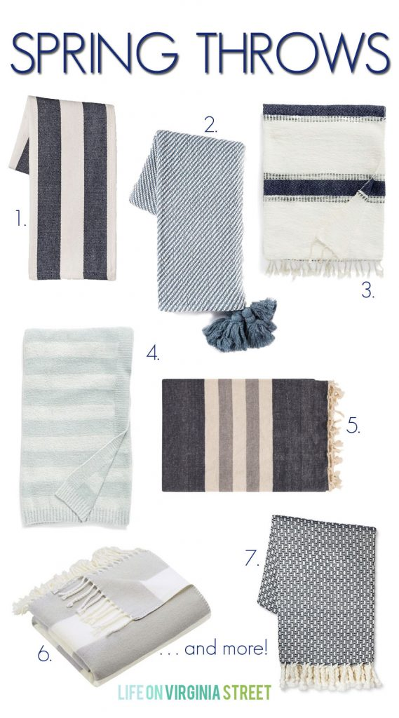 An excellent collection of spring throws perfect for homes with a coastal flair! Love all the navy blue, greens, aquas and stripes! Most of these come in a variety of colors as well.