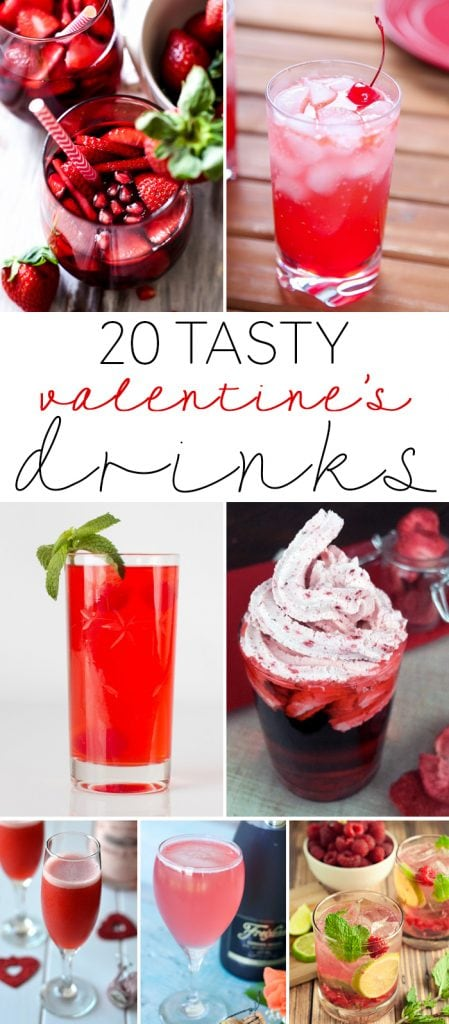 A round-up of 20 Valentine's Day Cocktails and Mocktails. These drinks are all shades of red and pink, perfect year-round, but especially for the holiday!