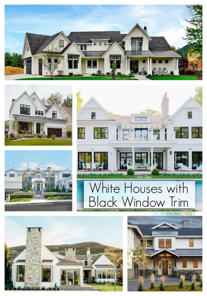 white houses with black window trim