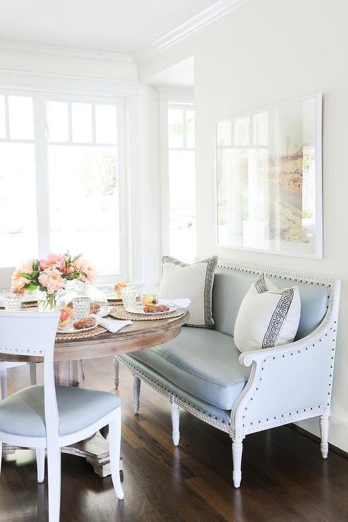 Breakfast Nook with Blue Leather Settee via Kerrisdale Design