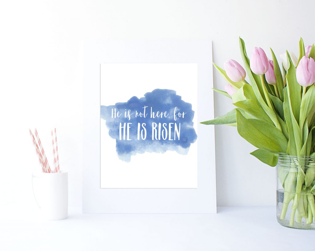 "25 + Easter Printables. Loving this ""He is not here, for He is Risen"" watercolor printable perfect for Easter and spring!"