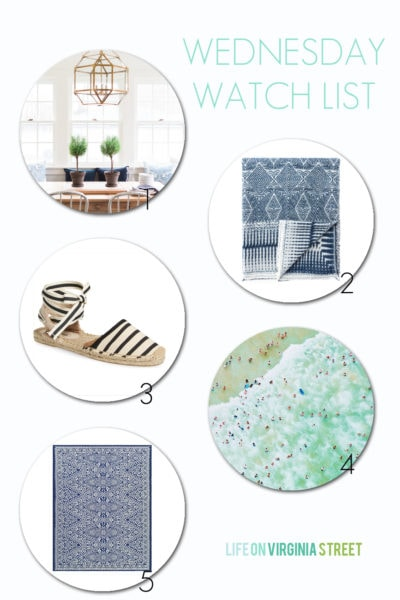A few of my favorites this week: a beautiful blue and white home tour, an indigo ethnic throw, black and white striped espadrilles, beach photo coffee table book and a perfect blue and white outdoor rug!