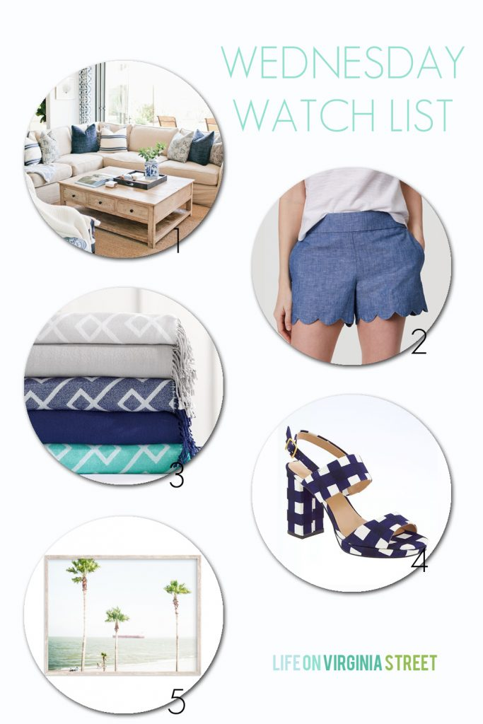 A coastal home tour, chambray scalloped shorts, affordable and stylish throws from an unexpected source, navy blue gingham sandals, and palm tree art and others on sale.