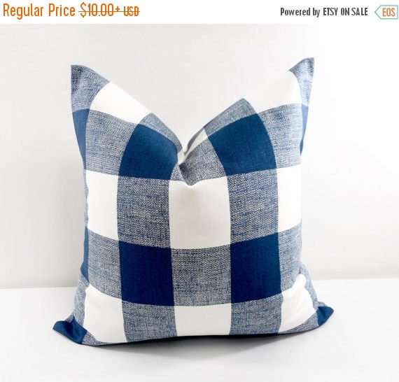 Add a pop of bright blue with these buffalo checked throw pillows!