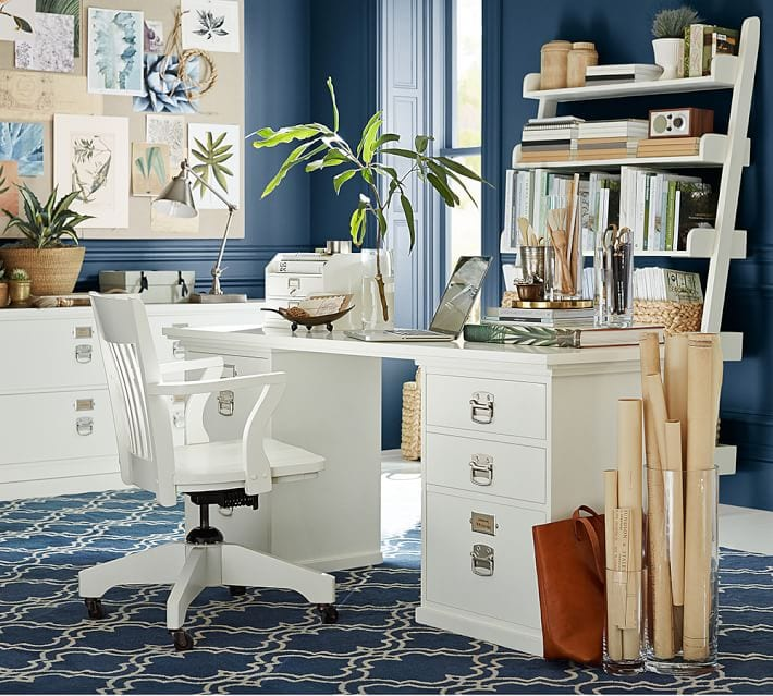 Navy blue and white office space via Pottery Barn