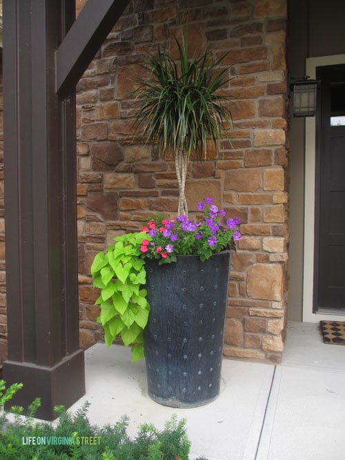 A tall planter with a small palm tree and purple flowers in it.