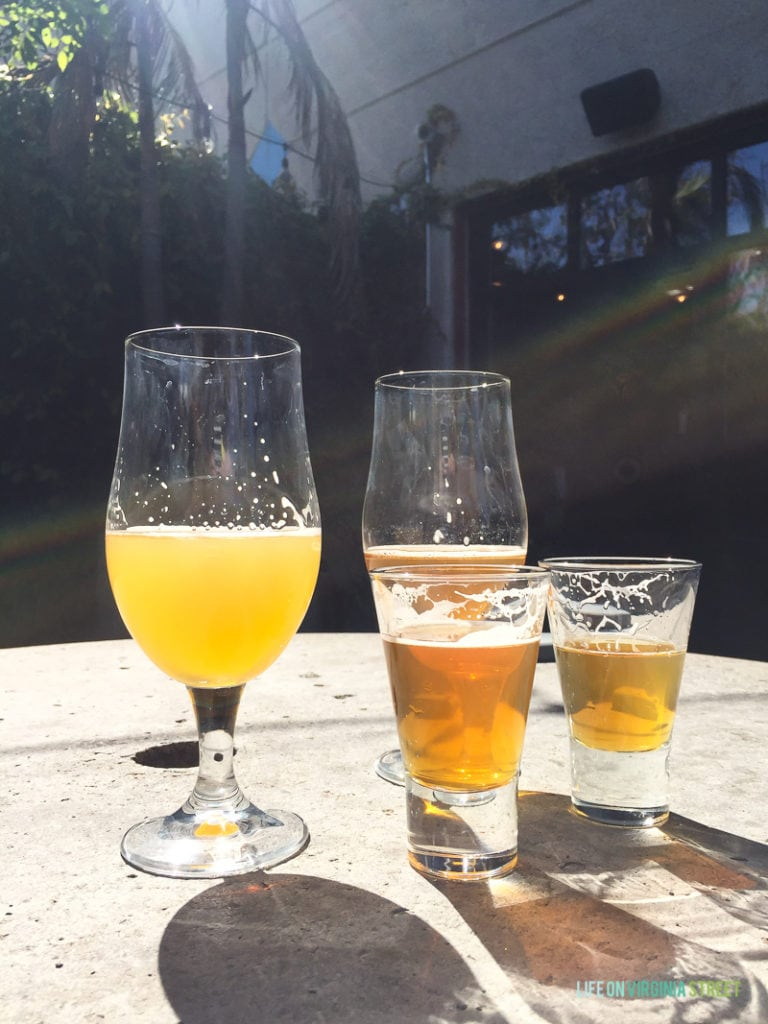 The four types of beer we sampled at the Green Flash Brewery on our Southern California Vacation.