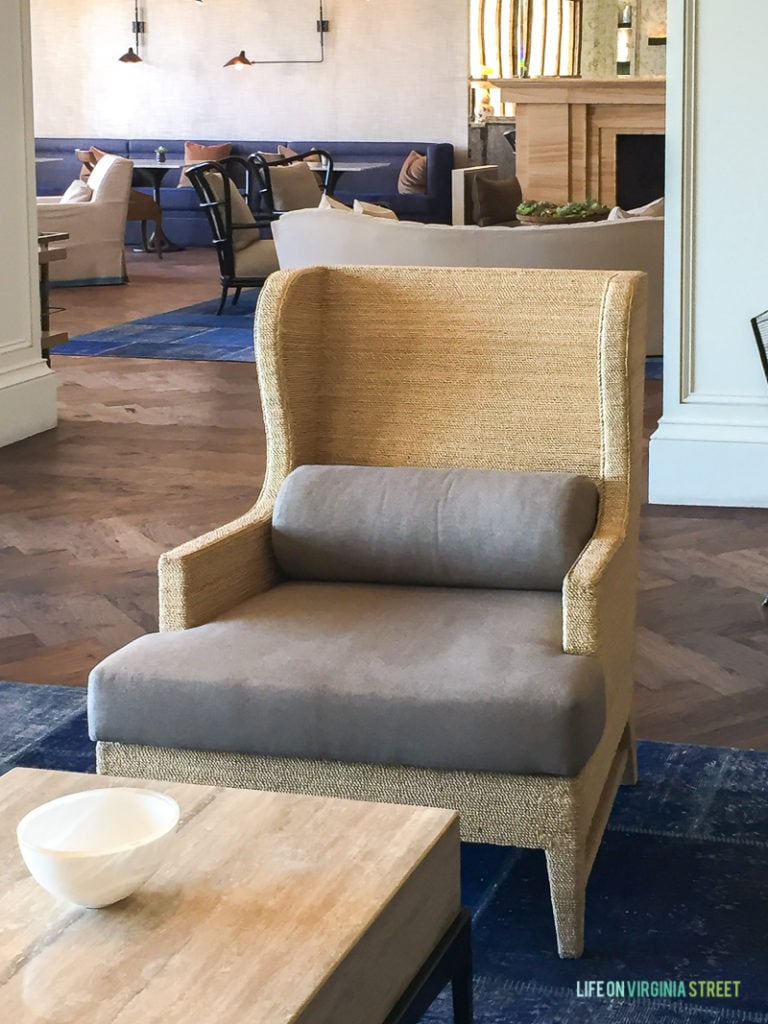 The lobby at the Monarch Beach Resort was beautiful, and I loved this modern chair in particular.
