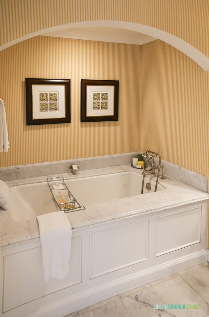 Gorgeous tub in our hotel room including the granite tile everywhere. I don't love the skinny stripes on the wallpaper, but I hear they are going to be remodeling soon!