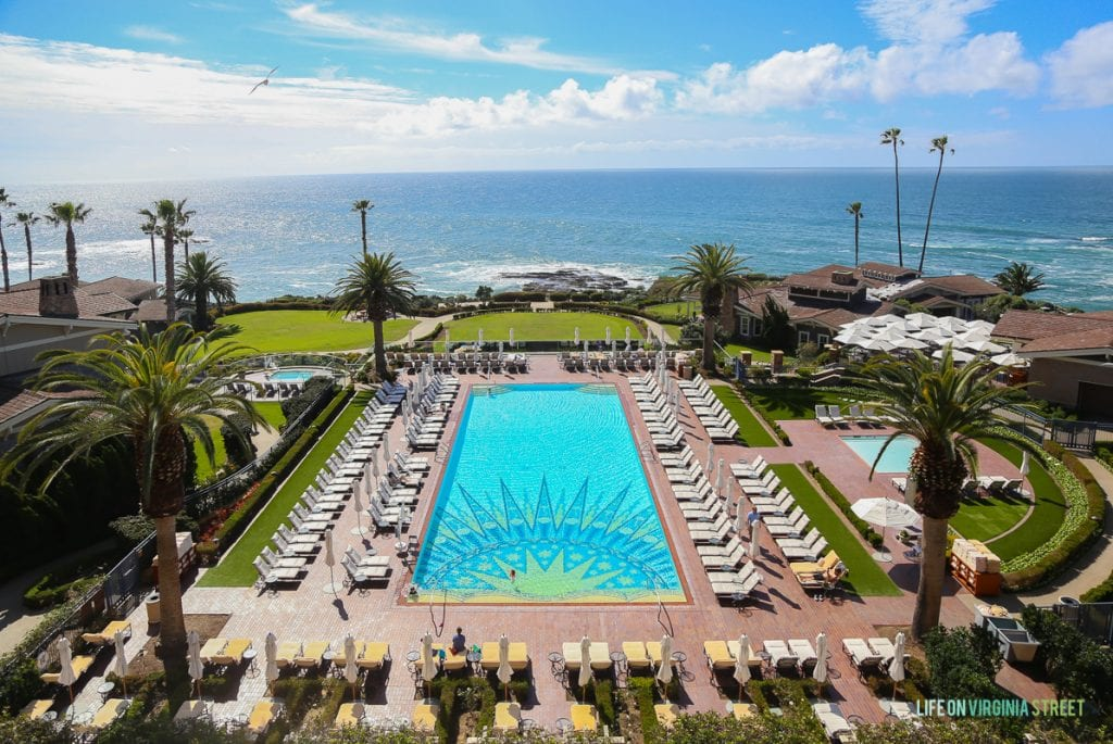 View of the pool and the ocean at the Hotel Montage on our recent Southern California vacation.