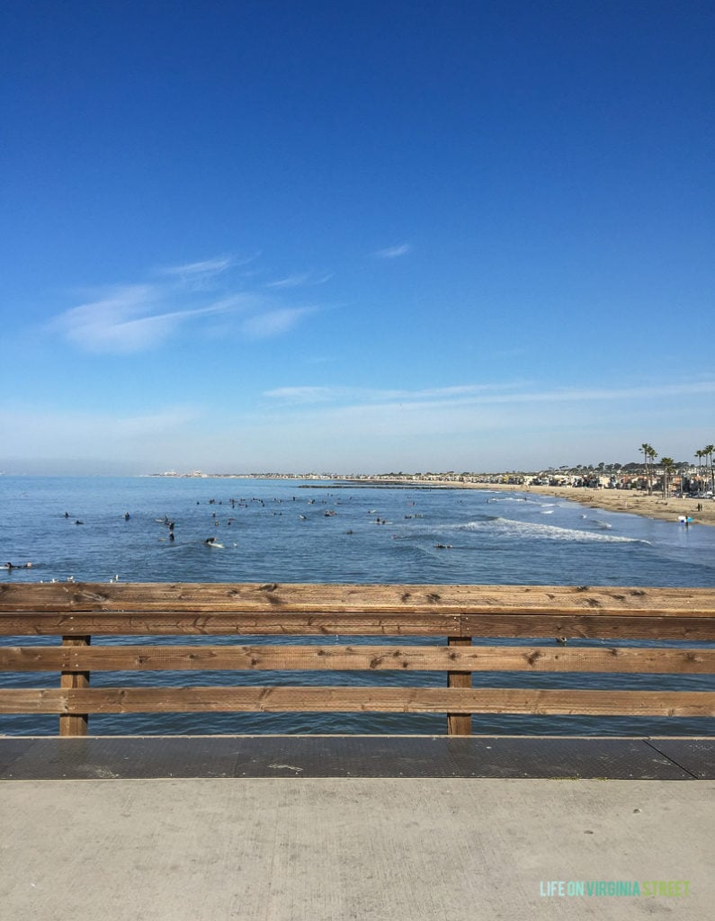 Newport Beach Pier - the perfect place to watch surfers and waves on our Southern California Vacation!