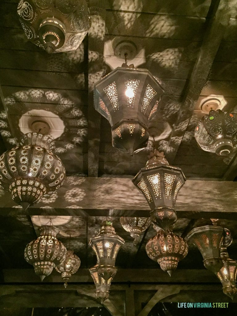 Gorgeous ceiling at the Selanne Steak Tavern with ornate light fixtures.