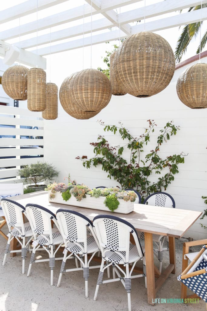This outdoor dining area at Serena & Lily gave me some major inspiration for our home patio.